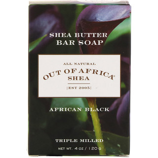 Out of Africa, Shea Butter Bar Soap, African Black, 4 oz (120 g)