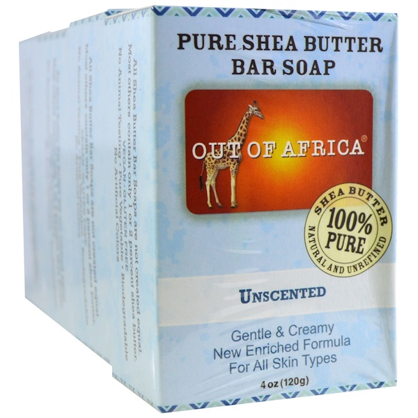 Out of Africa, Pure Shea Butter Bar Soap, Unscented, 4 Bars, 4 oz (120 g) Each (Discontinued Item)