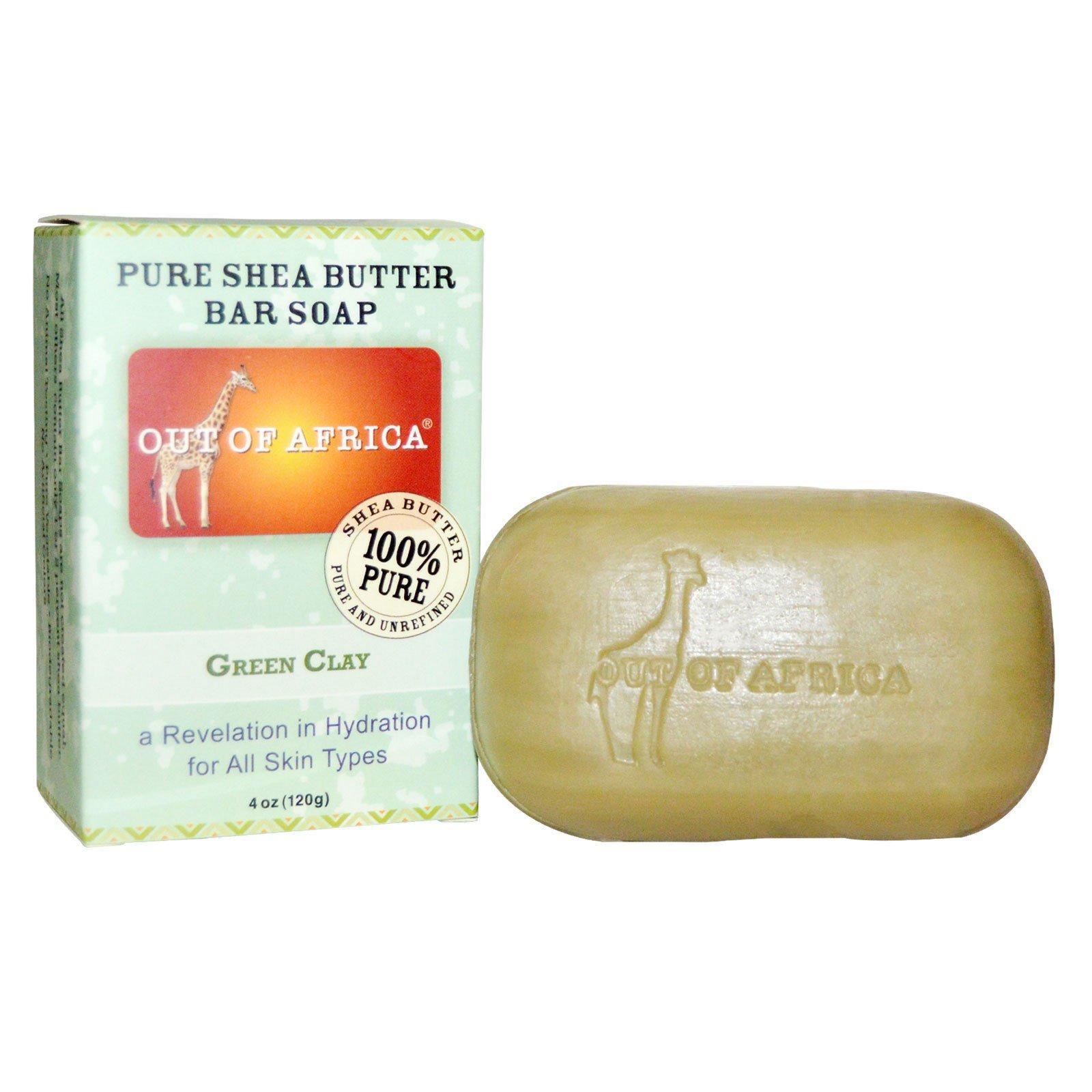 Out of Africa, Мыло с чистым маслом ши, зеленая глина, 4 унции (120 г)