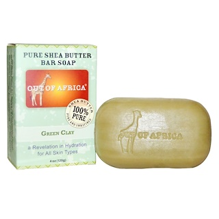 Out of Africa, Pure Shea Butter Soap, Green Clay, 4 oz (120 g)