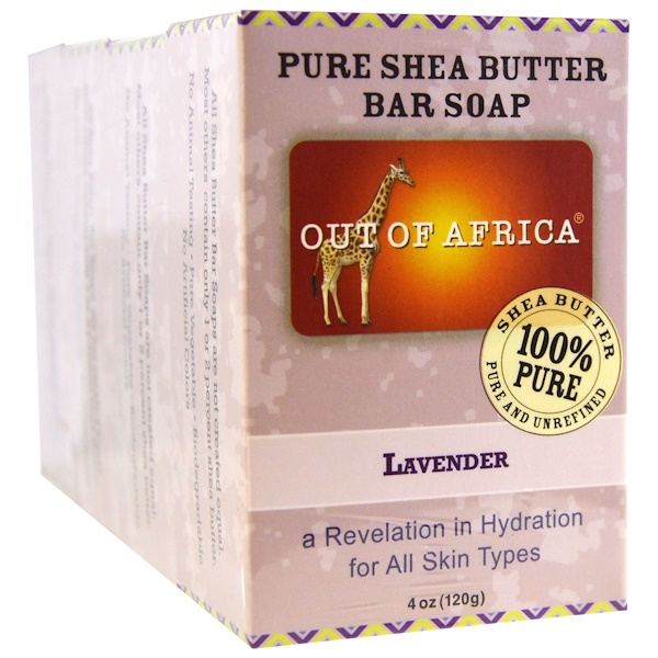 Out of Africa, Pure Shea Butter Bar Soap, Lavender, 4 Pack, 4 oz (120 g) Each (Discontinued Item)