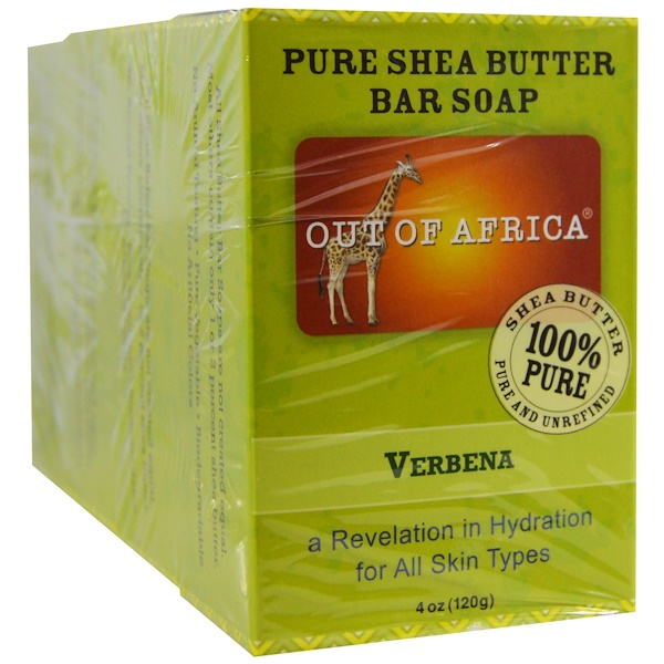 Out of Africa, Pure Shea Butter Bar Soap, Verbena, 4 Bars, 4 oz (120 g) Each (Discontinued Item)