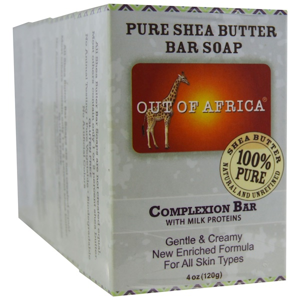 Out of Africa, Pure Shea Butter Bar Soap, Complexion Bar with Milk Proteins, 4 pack, 4 oz (120 g) Each (Discontinued Item)