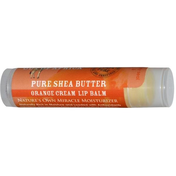 Out of Africa, Organic Shea Butter Lip Balm, Orange Cream, 0.15 oz (4 g) (Discontinued Item)