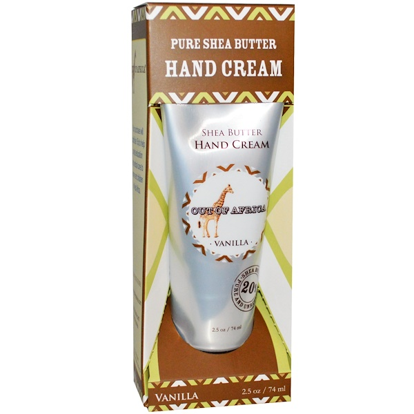 Out of Africa, Pure Shea Butter, Hand Cream, Vanilla, 2.5 oz (74 ml)