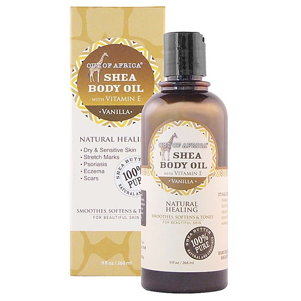Out of Africa, Shea Body Oil with Vitamin E, Vanilla, 9 fl oz (266 ml)