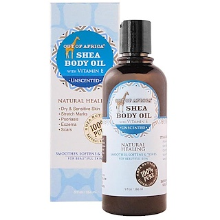 Out of Africa, Shea Body Oil with Vitamin E, Unscented, 9 fl oz (266 ml)