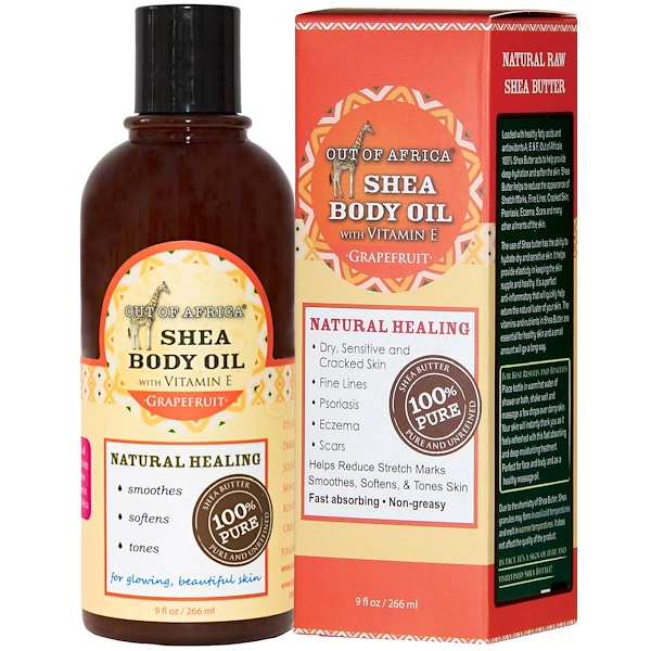 Out of Africa, Shea Body Oil with Vitamin E, Grapefruit, 9 fl oz (266 ml) (Discontinued Item)