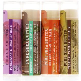 Out of Africa, Pure Shea Butter Lip Balm with Vitamin E, 3 Flavors + 1 Bonus, 4 Sticks, 0.15 oz (4.2 g) Each