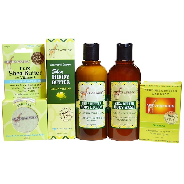 Out of Africa, Shea Butter Body Kit, Lemon Verbena, 4 Pieces with 1 Free 2 oz Shea Better (Discontinued Item)