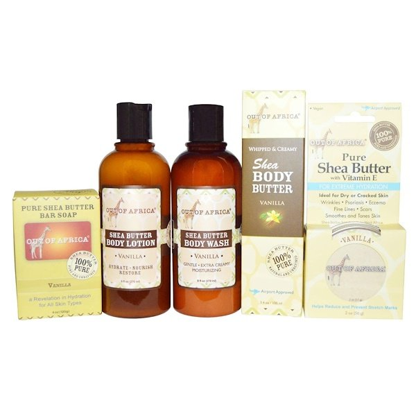 Out of Africa, Shea Butter Body Kit, Vanilla, 4 Pieces with 1 Free Gift (Discontinued Item)