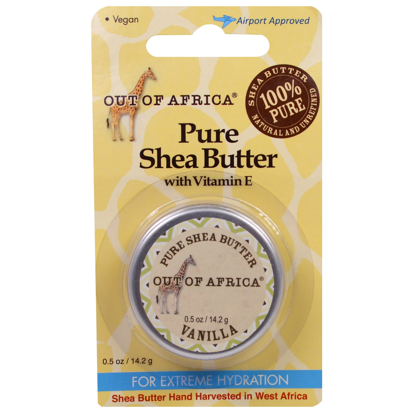 Out of Africa, Натуральное масло Ши с витамином Е, с ванилью, 0.5 унций (14.2 г)