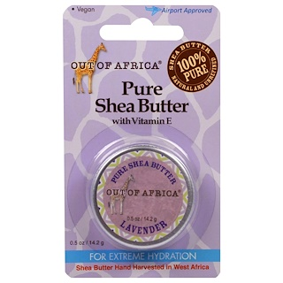 Out of Africa, Manteca de karité pura con vitamina E, lavanda, 0.5 oz (14.2 g)