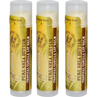 Out of Africa, Pure Shea Butter Lip Balm, Tropical Vanilla, 3 Pack, 0.15 oz (4 g) Each