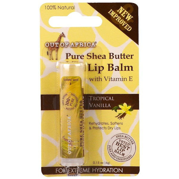 Out of Africa, Lip Balm, Pure Shea Butter, Tropical Vanilla, 0.15 oz (4 g) (Discontinued Item)