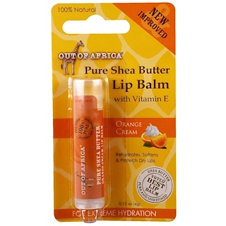 Out of Africa, Lip Balm, Pure Shea Butter, Orange Cream, 0.15 oz (4 g)