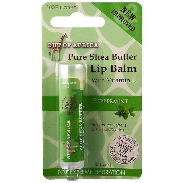Out of Africa, Lip Balm, Pure Shea Butter, Peppermint, 0、15 oz (4 g)