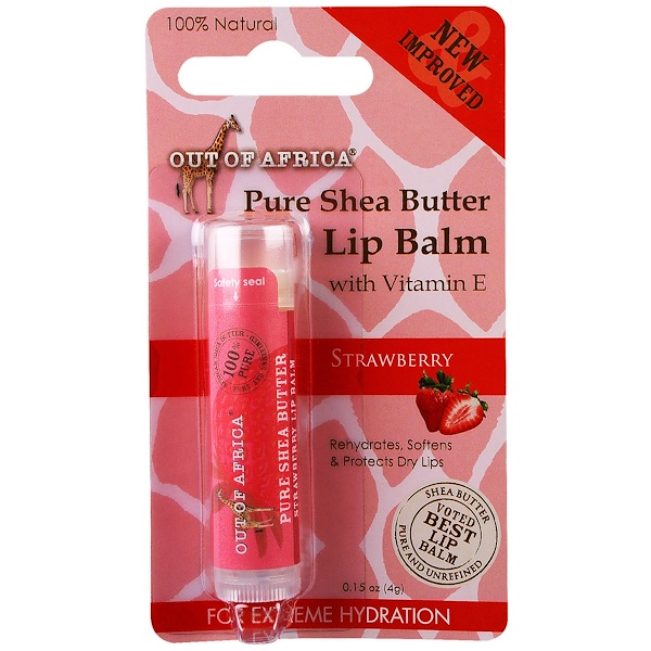 Out of Africa, Lip Balm, Pure Shea Butter, Strawberry, 0、15 oz (4 g)