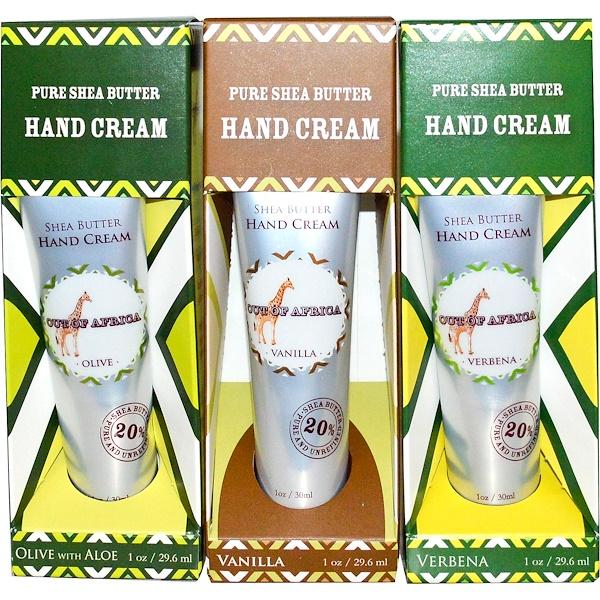 Out of Africa, Крем для рук с чистым маслом ши, 3 тюбика, 1 унция (29,6 мл) каждый (Discontinued Item)