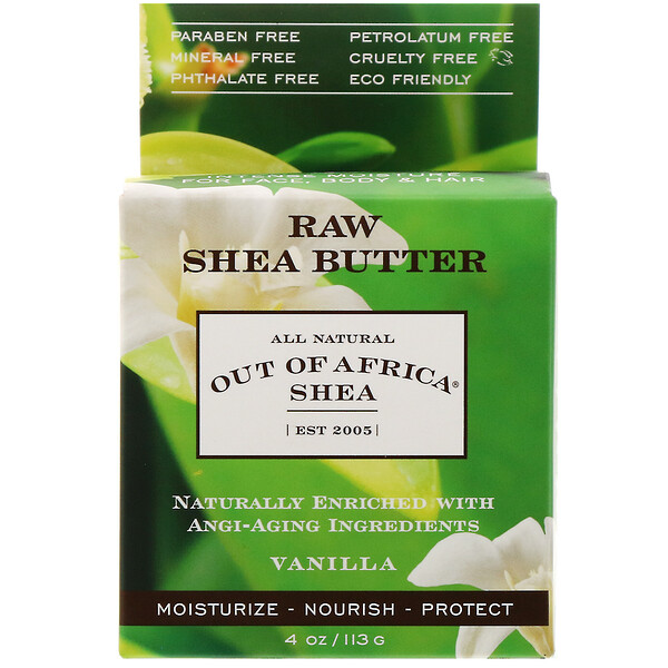 Out of Africa, Raw Shea Butter,  Intense Moisture for Face, Body & Hair, Vanilla, 4 oz (113 g) (Discontinued Item)