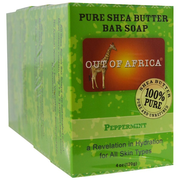Out of Africa, Pure Shea Butter Bar Soap, Peppermint, 4 Bars, 4 oz (120 g) Each (Discontinued Item)
