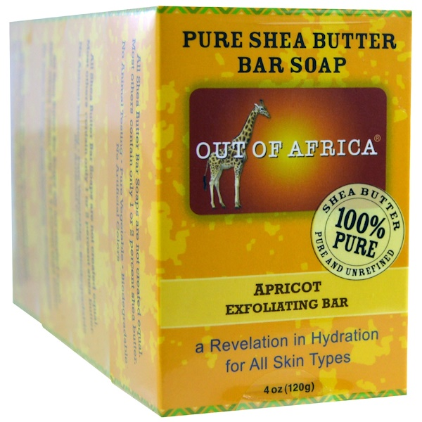 Out of Africa, Pure Shea Butter Bar Soap, Apricot Exfoliating Bar, 4 Pack, 4 oz (120 g) (Discontinued Item)