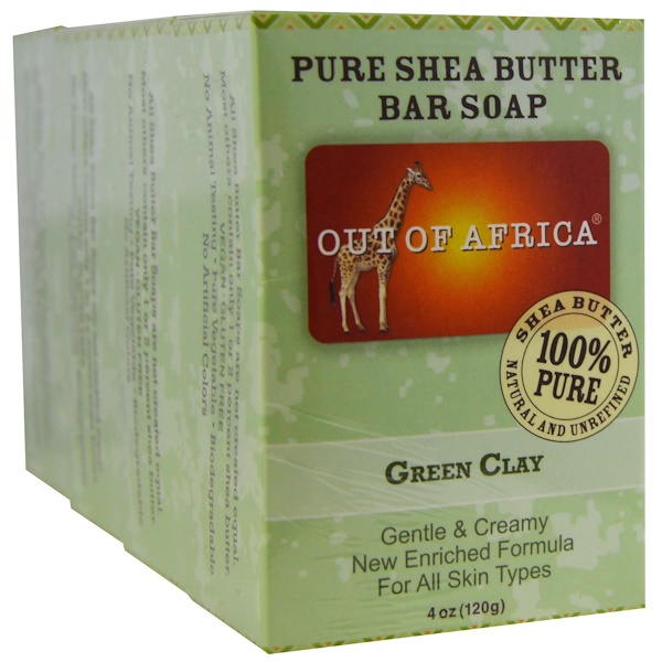 Out of Africa, Pure Shea Butter Bar Soap, Green Clay, 4 Bars, 4 oz (120 g) Each (Discontinued Item)