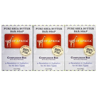 Out of Africa, Pure Shea Butter Bar Soap, Complexion Bar with Milk Proteins, 3 pack, 4 oz (120 g) Each