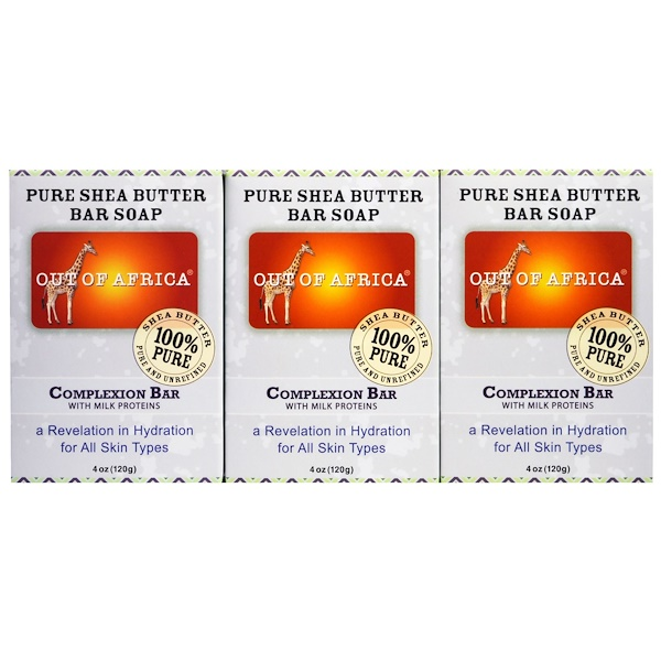 Out of Africa, Pure Shea Butter Bar Soap, Complexion Bar with Milk Proteins, 3 pack, 4 oz (120 g) Each (Discontinued Item)