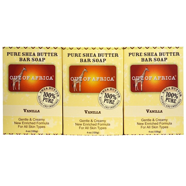 Out of Africa, Pure Shea Butter Bar Soap, Vanilla, 3 Pack, 4 oz (120 g)  Each (Discontinued Item)