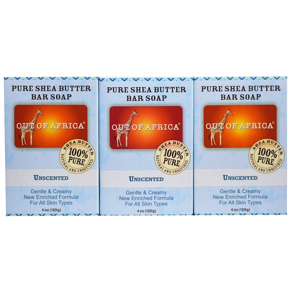 Out of Africa, Pure Shea Butter Bar Soap, Unscented, 3 Pack, 4 oz (120 g) Each