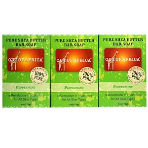 Аут оф Эфрика, Pure Shea Butter Bar Soap, Peppermint, 3 Pack, 4 oz (120 g) Each отзывы