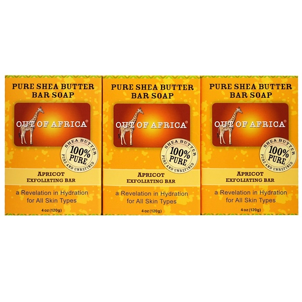 Out of Africa, Pure Shea Butter Bar Soap, Apricot Exfoliating Bar, 3 Pack, 4 oz (120 g) Each (Discontinued Item)