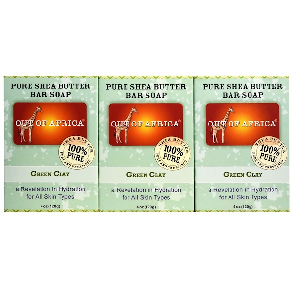 Out of Africa, Pure Shea Butter Bar Soap, Green Clay, 3 Pack, 4 oz (120 g) Each (Discontinued Item)