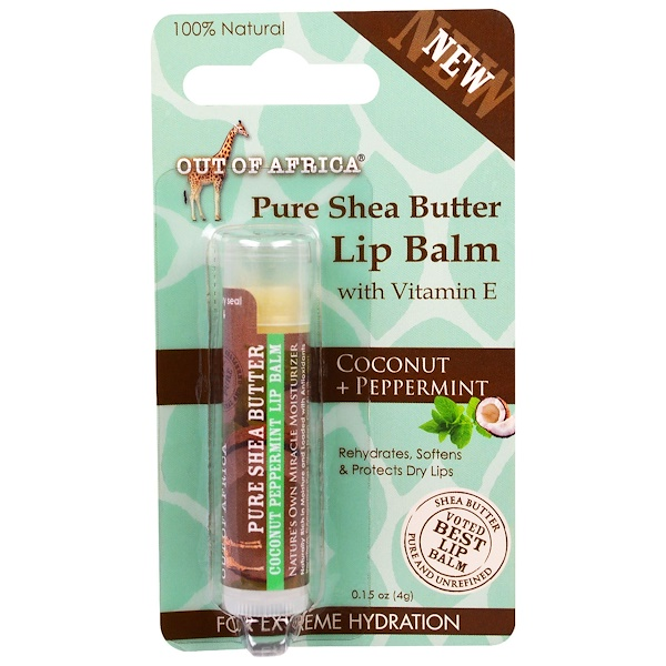 Out of Africa, Lip Balm, Pure Shea Butter, Coconut + Peppermint, 0.15 oz (4 g)