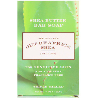 Out of Africa, Shea Butter Bar Soap, With Aloe Vera, Fragrance Free, 4 oz (120 g)