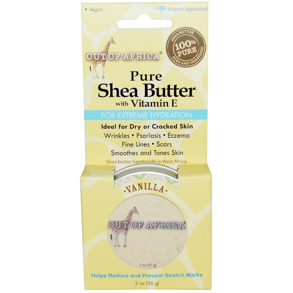 Out of Africa, Pure, Shea Butter with Vitamin E, Vanilla, 2 oz (56 g)