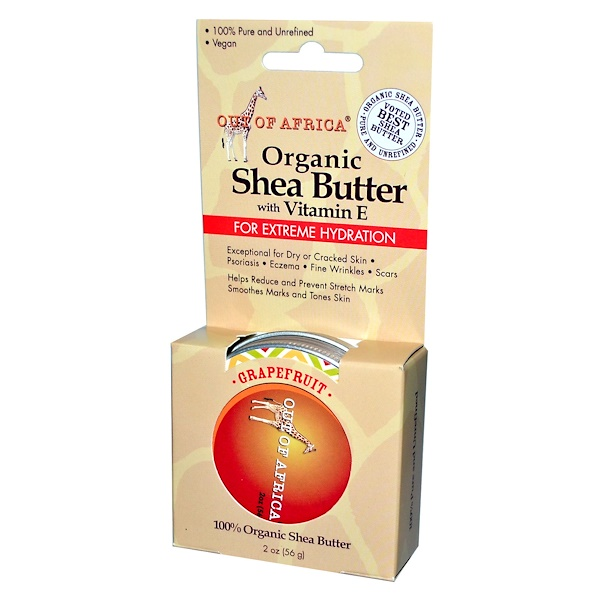 Out of Africa, 100% Pure and Unrefined Shea Butter with Vitamin E, Grapefruit, 2 oz (56 g) (Discontinued Item)