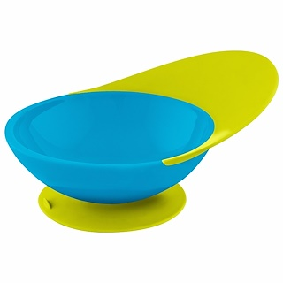 Boon, Catch Bowl, Toddler Bowl with Spill Catcher, 9 + Months, Blue/Green, 1 Bowl
