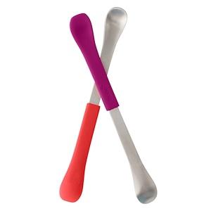 Боон, Swap, 2-in-1 Feeding Spoon, 4+ Months, Coral & Plum, 2 Spoons отзывы