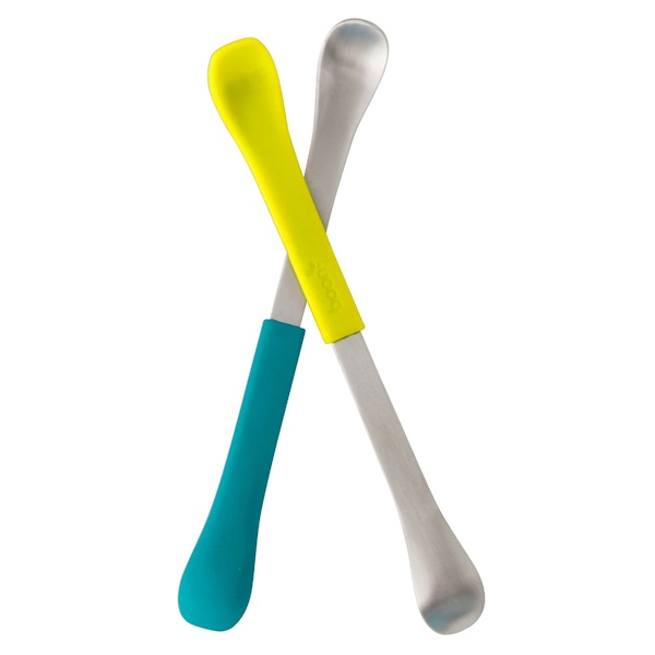 Swap، ملعقة تغذية 2 في 1، 4 أشهر وما فوق، باللون الأزرق المخضر والأصفر، ملعقتين