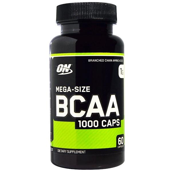 保健品氨基酸支鏈氨基酸(支鏈氨基酸):Optimum Nutrition, BCAA 1000 膠囊,超大型,1克,60粒