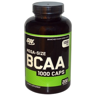 Optimum Nutrition, BCAA 1000 Caps, Mega-Size, 1,000 mg, 200 Capsules