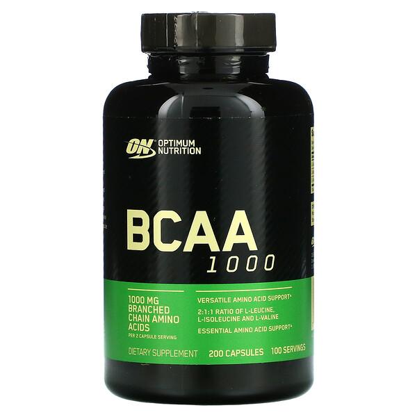 BCAA 1000キャップス、メガサイズ、1g、200粒