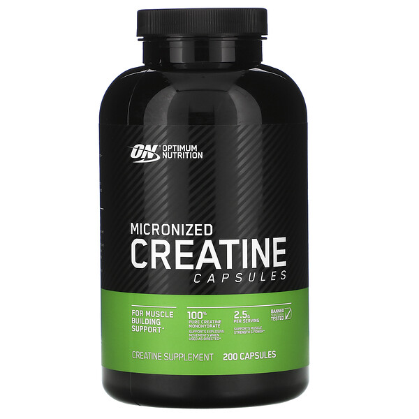 Optimum Nutrition, Micronized Creatine Capsules, 2.5 g, 200 Capsules