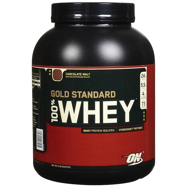 Optimum Nutrition, 100% 유청 골드 스탠다드, 초콜릿 몰트, 5 lbs (2,273 g)