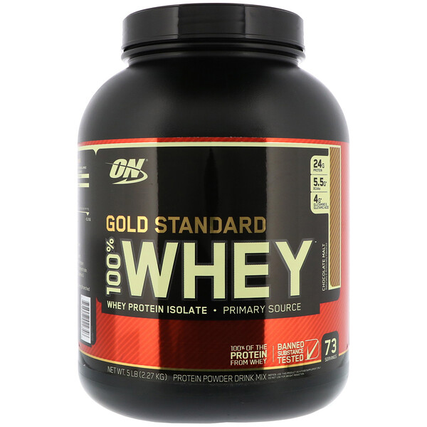 Optimum Nutrition, Estándar Gold, 100 % lactosuero, malta de chocolate, 5 lb (2.27 kg)