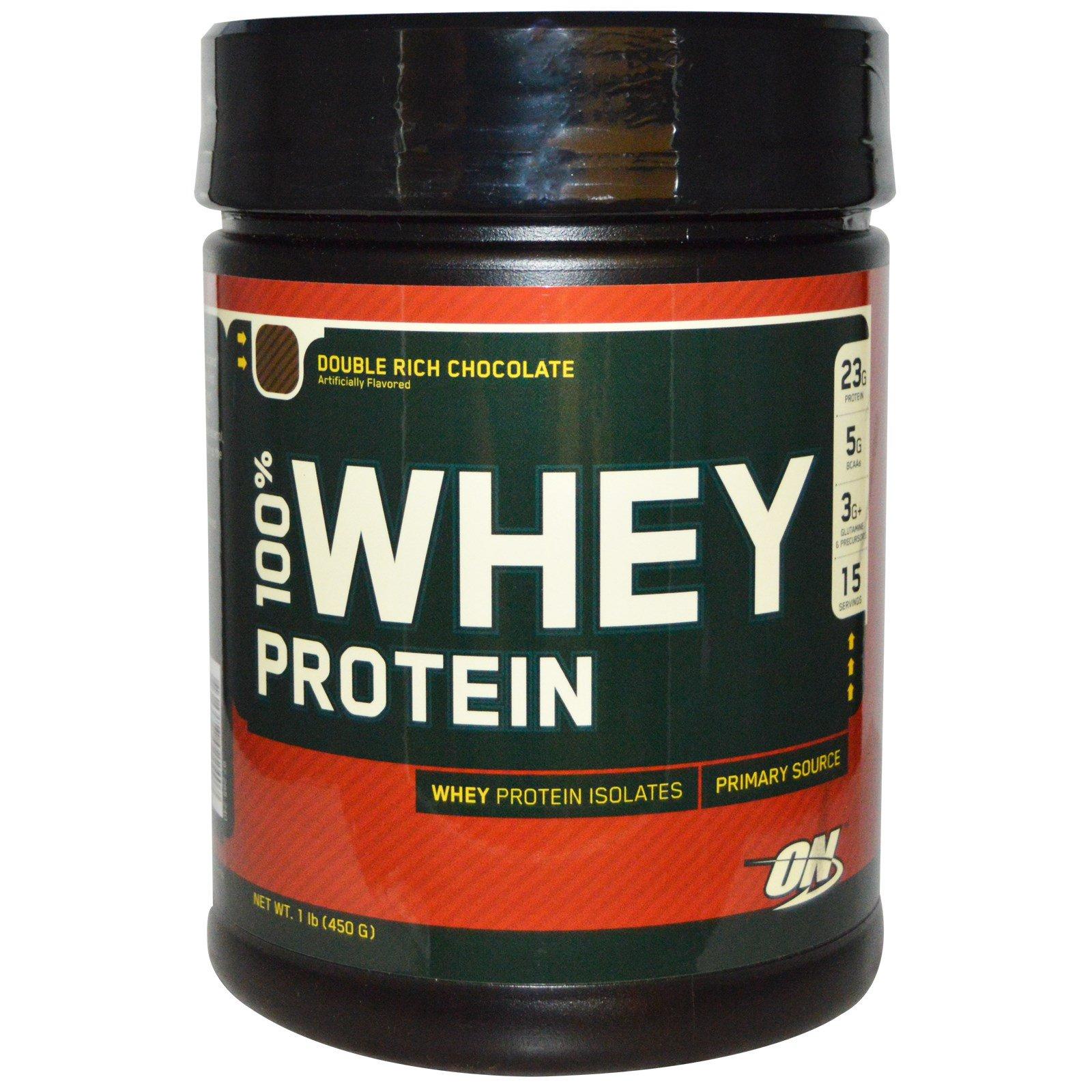 Optimum Nutrition, 100% сывороточный белок, с двойным вкусом шоколада, 1 фунт (454 г)