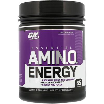 Купить Optimum Nutrition Essential Amin.O. Energy, виноград «Конкорд», 585 г (1, 29 фунта)