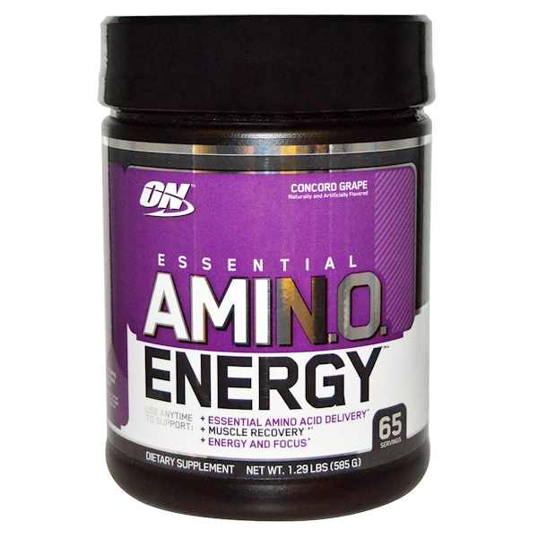 Optimum Nutrition, Essential Amino Energy, Concord Grape, 1.29 Lbs (585 g)